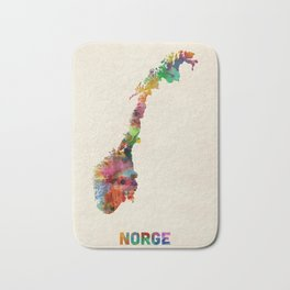 Norway Watercolor Map Bath Mat