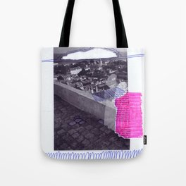 scan of pink highlighter and blue ballpoint pen on digital print  Tote Bag