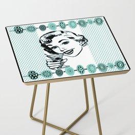 Mid-Century Modern Art Cocktail Teal Side Table