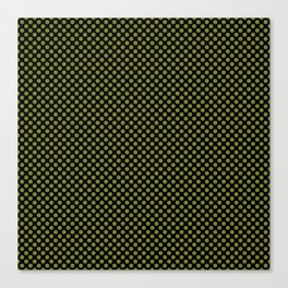 Black and Woodbine Polka Dots Canvas Print