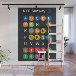 New York City subway alphabet map, NYC, lettering illustration, dark version, usa typography Wall Mural