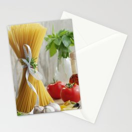 Delicious Italian noodles in the kitchen still life Stationery Cards