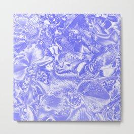 Shimmering floral damask, blue Metal Print