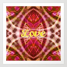 Tribal Love Geometry (Pinks) Art Print