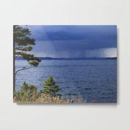 Rain on Yellowstone Lake Metal Print