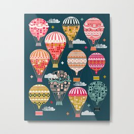 Hot Air Balloons - Retro, Vintage-inspired Print and Pattern by Andrea Lauren Metal Print