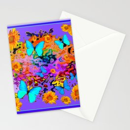 Lavender Art Blue Butterflies Floral Stationery Cards
