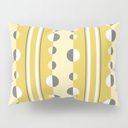 Circles and Stripes in Mustard Yellow and Gray Pillow Sham