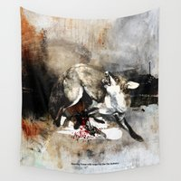 hunting Wall Tapestries featuring Hunting foxes by Design4u Studio