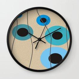 Circles Upon Circles in Blue Wall Clock