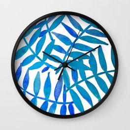 Leaf Decor :Blue Wall Clock