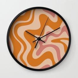 Liquid Swirl Abstract in Late Summer Orange and Pink Wall Clock