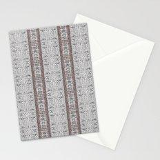 Vintage Grey White Mosaic Striped Pattern Stationery Cards