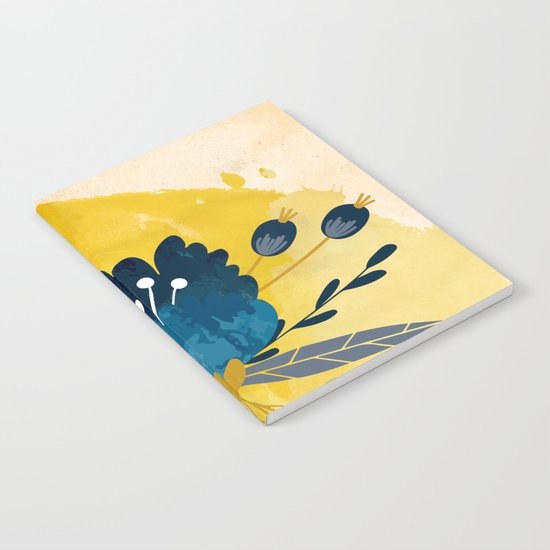 Yellow Acuarela Blue Flower Notebook