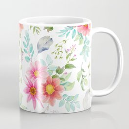 Modern pink orange teal elegant hand painted floral Coffee Mug