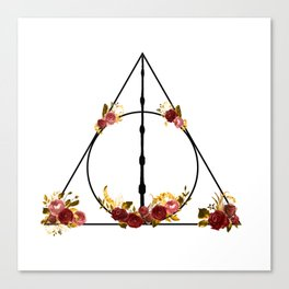 Deathly Hallows in Red and Gold Canvas Print