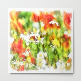 The Colors Of Spring On A Sunny Day Watercolor Metal Print
