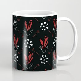 Bohemian Scribble Heart Floral Vector Pattern Seamless, Hand Drawn Stylized Coffee Mug