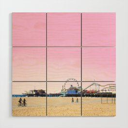 Santa Monica Pier with Ferries Wheel and Roller Coaster Against a Pink Sky Wood Wall Art