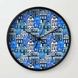 Mansard Village in Blue Watercolor Wall Clock
