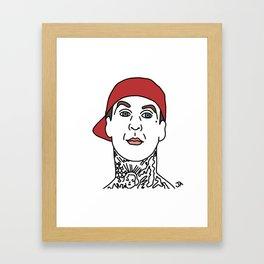 Travis Barker of Blink182 Illustration Framed Art Print
