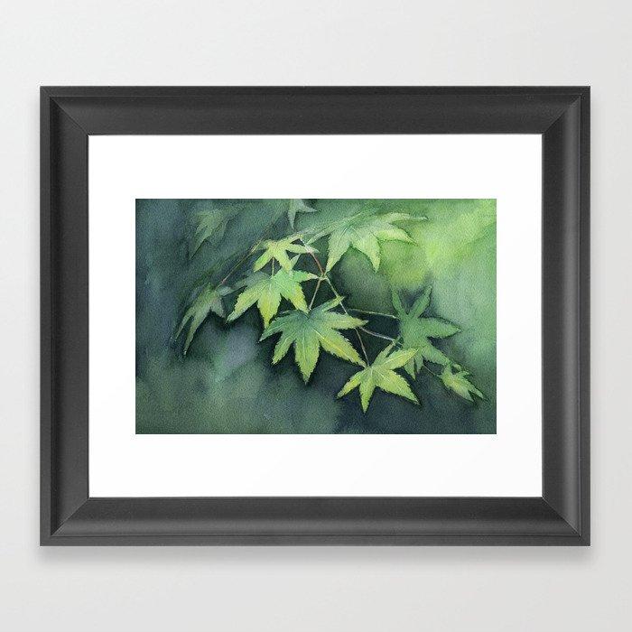 Japanese Maple Watercolor Green Leaves Framed Art Print By Olechka