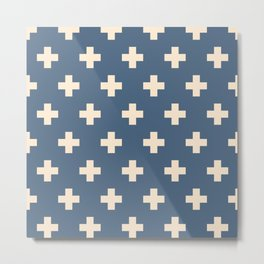 Swiss Cross Blue Metal Print