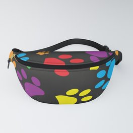 Colorful paw print black background Fanny Pack