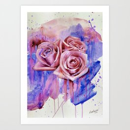 A ROSE BY ANY OTHER NAME- RED & BLUE  Art Print
