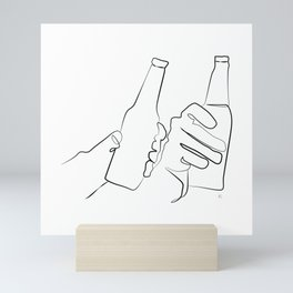 """"""" Kitchen Collection """" - Two Hands Holding Beer Bottles Mini Art Print"""