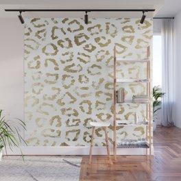 Modern white chic faux gold foil leopard print Wall Mural