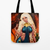 mother of dragons Tote Bags featuring Mother of Dragons by Sonia MS