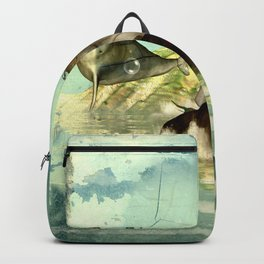 Beautiful mermaid with jumping dolphin Backpack