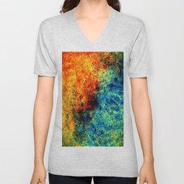 Abstract painting orange blue Unisex V-Neck