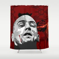 taxi driver Shower Curtains featuring Taxi driver Travis Bickle Robert De Niro iPhone 4 4s 5 5c, ipod, ipad, pillow case tshirt and mugs by Three Second