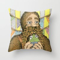 happy birthday Throw Pillows featuring Happy Birthday by Amanda James