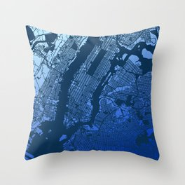 New York City Manhattan Two Tone Map Throw Pillow
