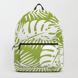 Olive Green Jungle Palm Leaves Pattern Backpack