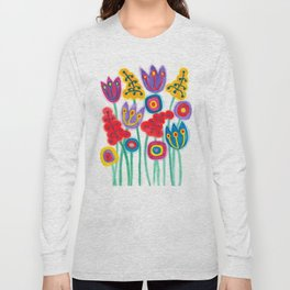 raw flower garden with tulips Long Sleeve T-shirt
