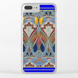Ornate blue & Yellow Art Nouveau Butterfly Red Designs Clear iPhone Case