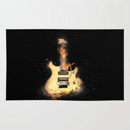 Flaming electric guitar Rug