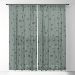 Cheetah Spots animal print minimal wild cat speckles and dots Forest Green Sheer Curtain