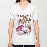 yaoi V-neck T-shirts featuring Yuri Kuma Arashi by Neo Crystal Tokyo