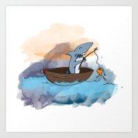 SHARK GOES FISHING Art Print