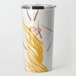 The gold evening dress Travel Mug
