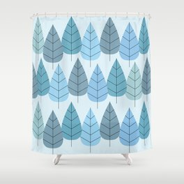 Mid century Trees in Blue Shower Curtain