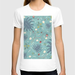 Seamless Pattern with hand drawn leaves. Scandinavian Style. T-shirt