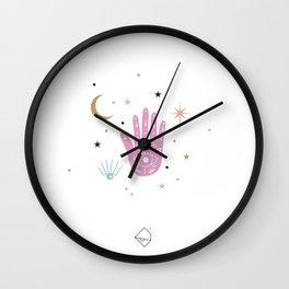 Lunar magic moon cycle and universe and stars colorful pink Wall Clock