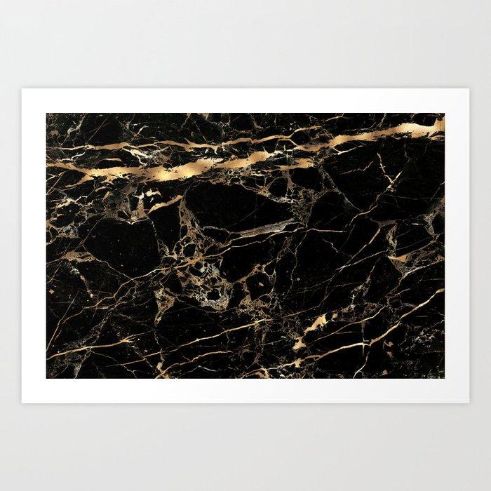 Marble, Black + Gold Veins Kunstdrucke