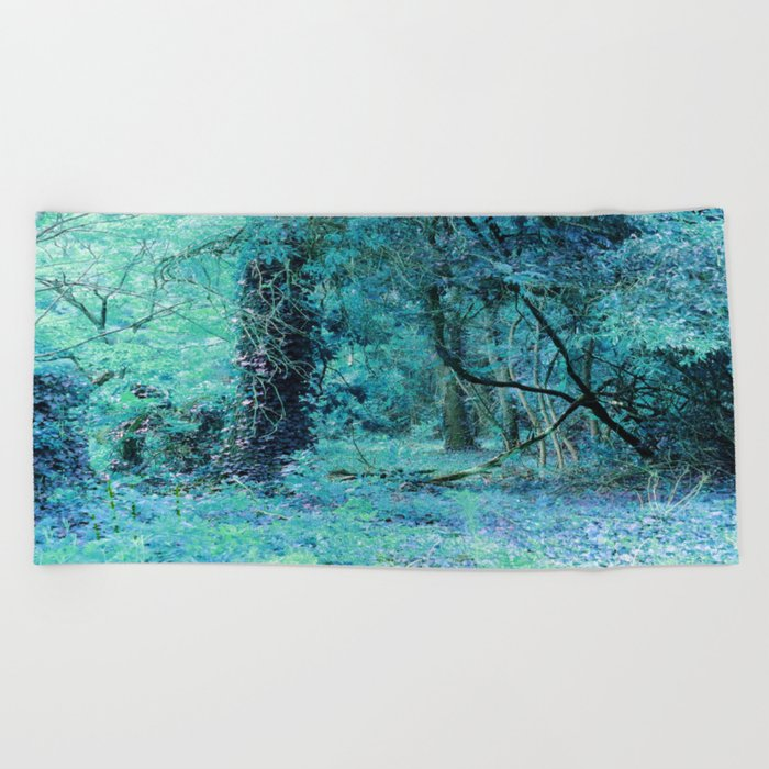 Turquoise Aqua Fantasy Forest Beach Towel